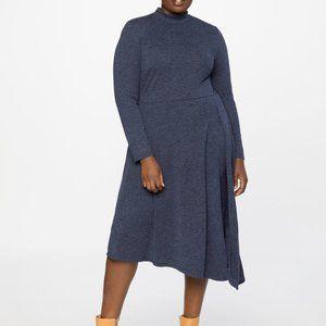 Eloquii Asymmetrical Turtleneck Dress with Slit